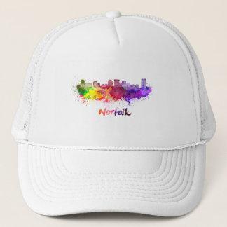 Norfolk skyline in watercolor trucker hat