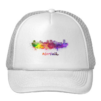Norfolk skyline in watercolor trucker hat