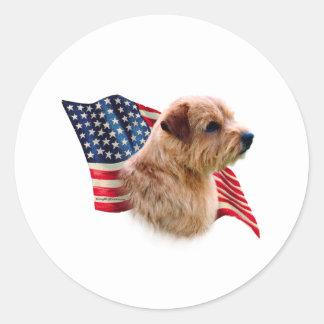 Norfolk Terrier Flag Classic Round Sticker
