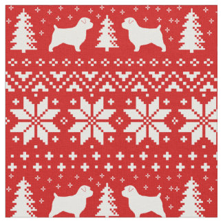 Norfolk Terrier Silhouettes Christmas Pattern Fabric