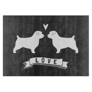 Norfolk Terrier Silhouettes Love Cutting Board