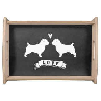 Norfolk Terrier Silhouettes Love Serving Tray