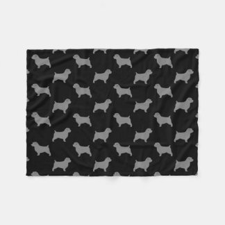 Norfolk Terrier Silhouettes Pattern Fleece Blanket