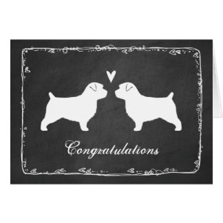 Norfolk Terrier Silhouettes Wedding Congrats Card