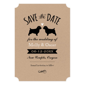 Norfolk Terrier Silhouettes Wedding Save the Date Card