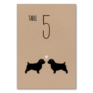 Norfolk Terrier Silhouettes Wedding Table Card