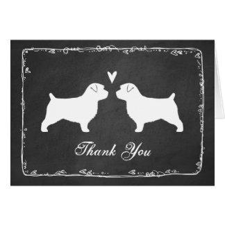Norfolk Terrier Silhouettes Wedding Thank You Card