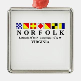 Norfolk Virginia 2 Metal Ornament