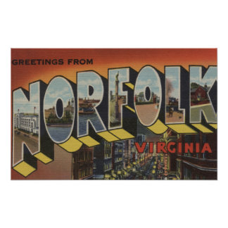 Norfolk, Virginia - Large Letter Scenes Poster