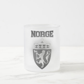 Norge Coat of Arms Frosted Glass Coffee Mug