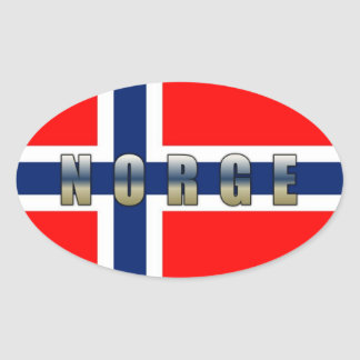 Norge Flag Oval Sticker