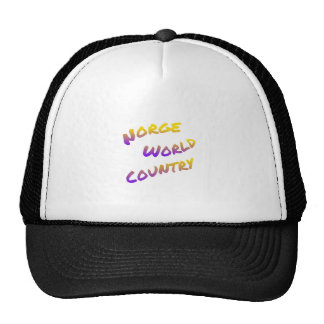 Norge world country, colorful text art trucker hat