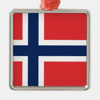 norieguian Flag Silver-Colored Square Ornament