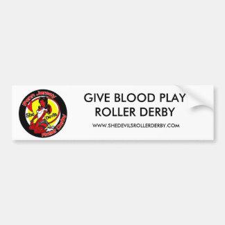 normal_shedevilslogo, GIVE BLOOD PLAY ROLLER DE... Bumper Sticker