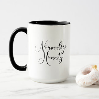 """Normalize Honesty"" Black & White Political Mug"
