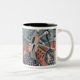 Norman cavalier on a piebald horse Two-Tone coffee mug