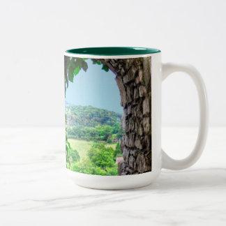 Norman Chepstow Castle Window, Wales, UK Two-Tone Coffee Mug
