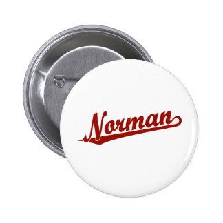 Norman script logo in red 2 inch round button