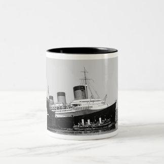 Normandie Enters NY Harbor Two-Tone Coffee Mug