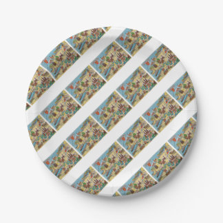 Normandie old map paper plate