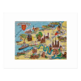Normandie old map postcard