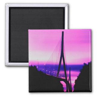Normandy Bridge, Le Havre, France 2 Square Magnet
