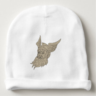 Norse God Odin Head Drawing Baby Beanie