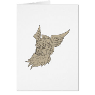 Norse God Odin Head Drawing Card