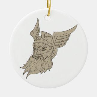 Norse God Odin Head Drawing Ceramic Ornament