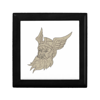 Norse God Odin Head Drawing Gift Box
