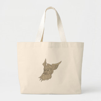 Norse God Odin Head Drawing Large Tote Bag