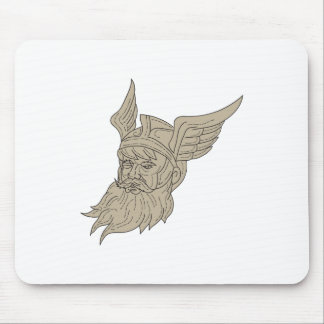 Norse God Odin Head Drawing Mouse Pad