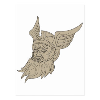 Norse God Odin Head Drawing Postcard