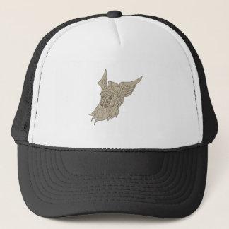 Norse God Odin Head Drawing Trucker Hat