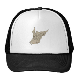 Norse God Odin Head Drawing Trucker Hat