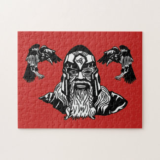 Norse God Odin with his Ravens Jigsaw Puzzle