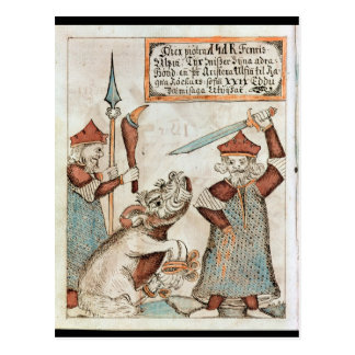 Norse god Tyr losing his hand to the bound wolf Postcard
