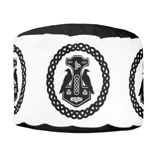 Norse Thor's Hammer in a Celtic Knot Circle Pouf