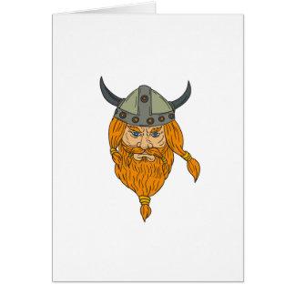 Norseman Viking Warrior Head Drawing Card