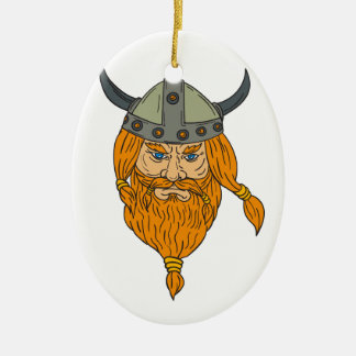 Norseman Viking Warrior Head Drawing Ceramic Ornament
