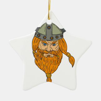Norseman Viking Warrior Head Drawing Ceramic Star Ornament