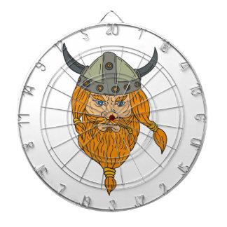 Norseman Viking Warrior Head Drawing Dartboard