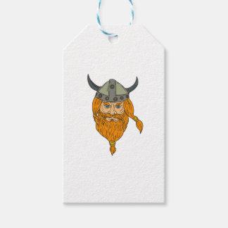 Norseman Viking Warrior Head Drawing Gift Tags