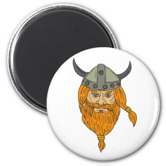 Norseman Viking Warrior Head Drawing Magnet