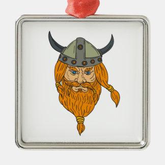 Norseman Viking Warrior Head Drawing Metal Ornament