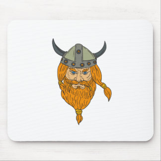 Norseman Viking Warrior Head Drawing Mouse Pad