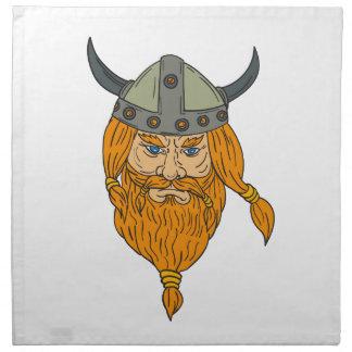 Norseman Viking Warrior Head Drawing Napkin