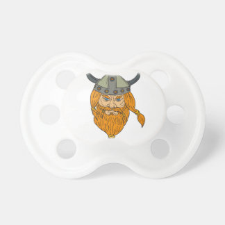 Norseman Viking Warrior Head Drawing Pacifier