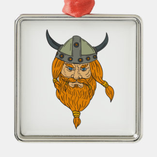 Norseman Viking Warrior Head Drawing Silver-Colored Square Ornament