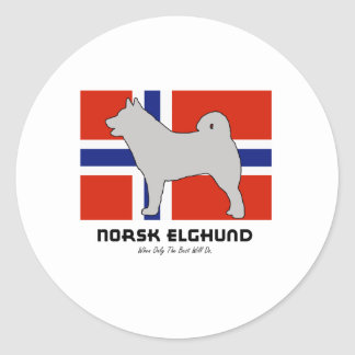 Norsk Elghund with Flag Classic Round Sticker